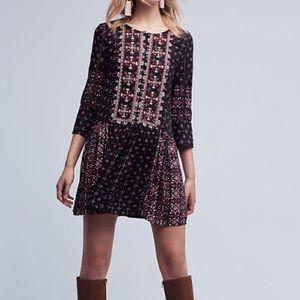Anthropologie Black Red Boho Embroidered Dress
